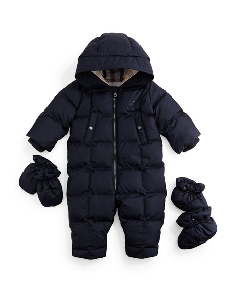 BurberrySkylar Quilted Down Snowsuit, Navy, Size 3-18 Months