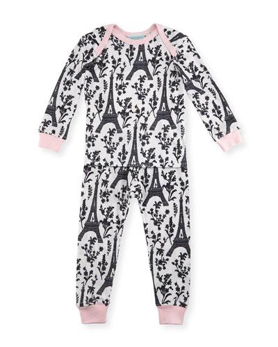 Eiffel Tower Pajama Shirt & Pants, White/Black/Pink, Size 3-24 Months