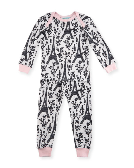 Bedhead Eiffel Tower Pajama Shirt & Pants, White/Black/Pink,