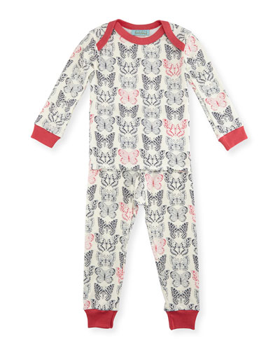 Butterfly Pajama Shirt & Pants, White/Black/Pink, Size 3-24 Months