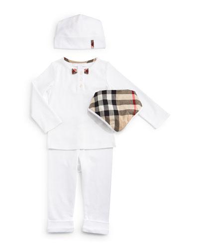 Pipa Cotton Button-Front Tee, Knit Leggings, Baby Hat & Bib Set, White, Size 3-12 Months