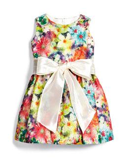 Garden Party Mesh A-Line Dress, Multicolor, Size 6M-3T