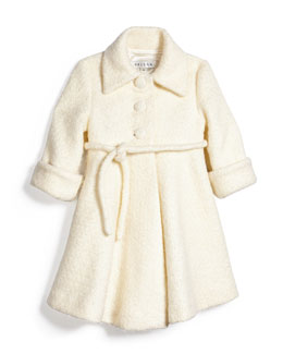 Fit-and-Flare Bouclé Peacoat, Ivory, Size 7-14
