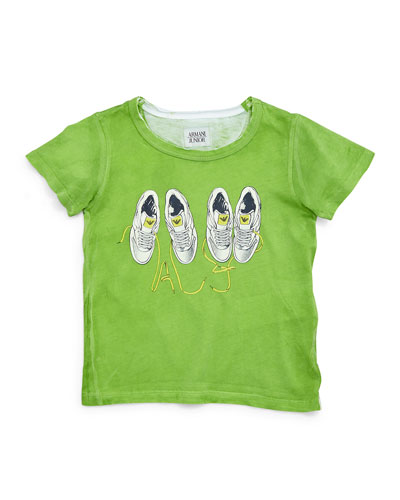 Sneaker-Graphic Jersey Tee, Green, Size 2-8