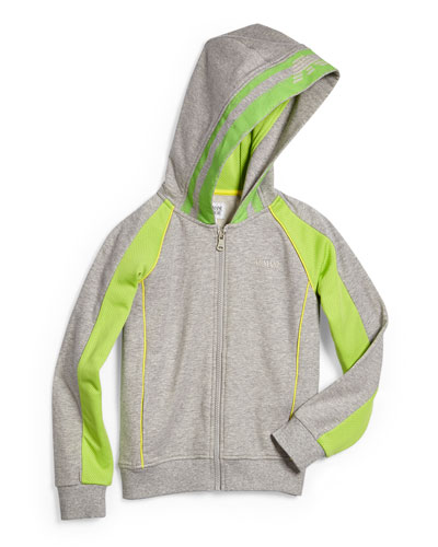 Hooded Contrast-Trim Track Jacket, Gray/Green, Size 2-8