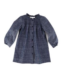Marissa Pleated Button-Front Shift Dress, Indigo, Size 3M-3Y