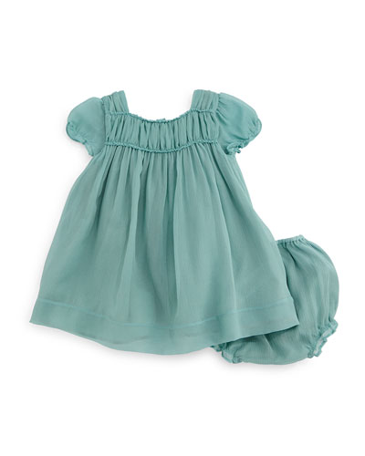 Arielle Plisse Silk Shift Dress & Bloomers, Peridot Blue, Size 3M-3Y
