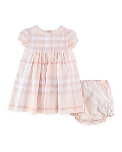 Ellalu Pleated Check Dress & Bloomers, Ice Pink, Size 3M-3Y