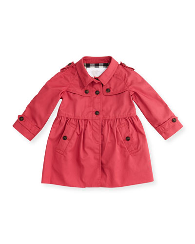 Skirted Melody Trenchcoat, Bright Rose, Size 3M-3Y