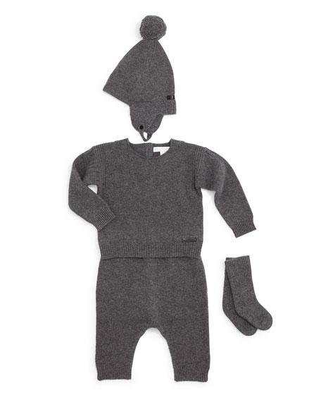 Burberry Kiko Cashmere Sweater, Pants, Beanie & Socks,