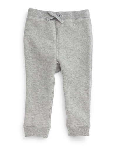 Barty Fleece-Lined Drawstring Sweatpants, Pale Gray Melange, Size 3M-3Y