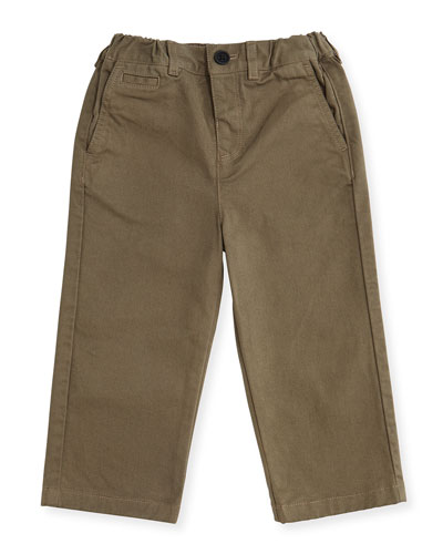 Bryan Stretch-Twill Pants, Mink Gray, Size 3M-3Y