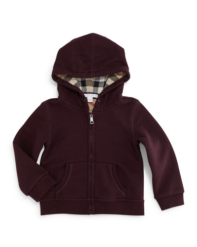 Pearce Hooded Fleece-Lined Sweatshirt, Deep Burgundy, Size 3M-3Y