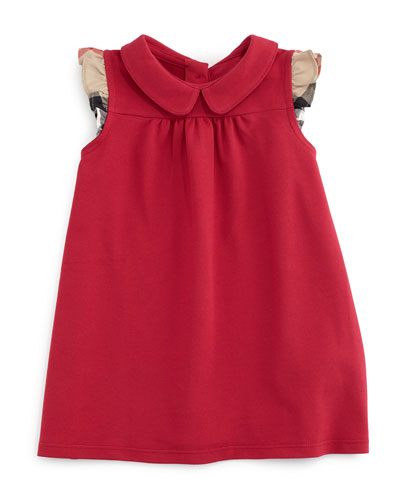 Perez Sleeveless Pique Shift Dress, Vibrant Crimson Pink, Size 3M-3Y