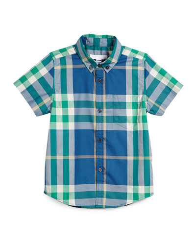 Short-Sleeve Check Fred Shirt, Marine Blue, Size 4-12