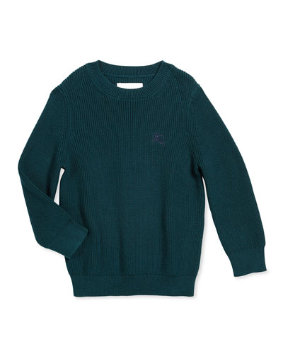 Robinson Ribbed Pullover Sweater, Dark Teal, Size 4-14