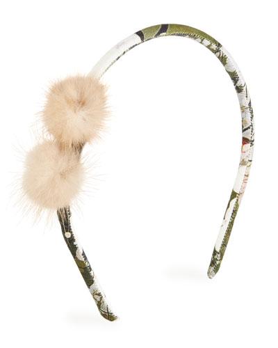 Girls' Fur-Trim Floral Headband
