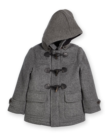 Burberry Burwood Hooded Wool Duffle Coat, Gray, Size