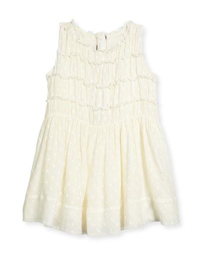 Stephe Dotted Silk Dress, Cream, Size 4Y-14Y