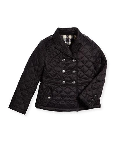 Mini Portree Military Jacket, Black, Size 4-14