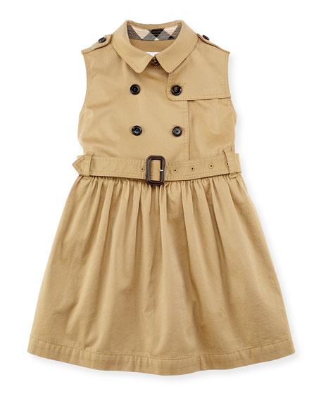 Burberry Iliana Sleeveless Trench Dress, Amber, Girls' 4-14