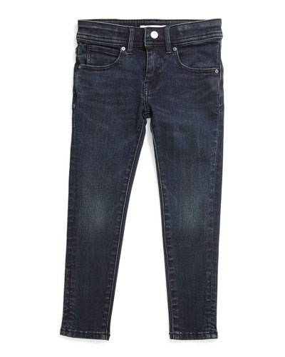 Faded Skinny Jeans, Dark Indigo, Size 4-14
