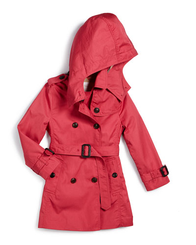 Buckingham Hooded Twill Trenchcoat, Bright Rose, Size 4-14