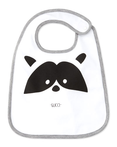 Cotton Raccoon Bib, White