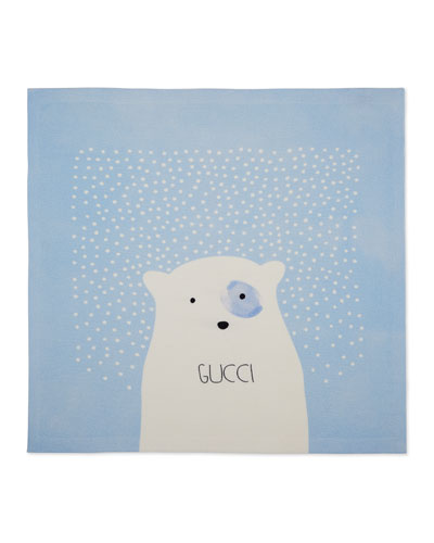 Wool Snow-Print Baby Blanket, Royal/White