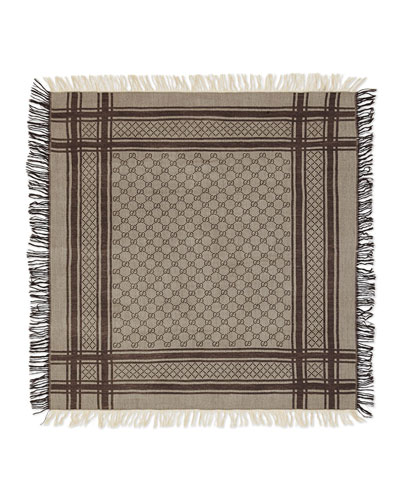 Junior Guccissima Wool-Blend Scarf, Brown