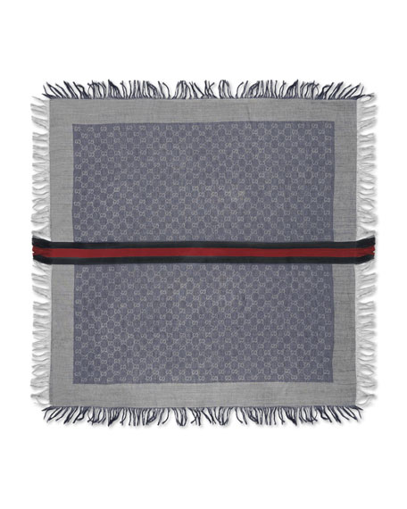 Gucci Olin Junior GG Fringe Scarf, Sapphire/Light Gray