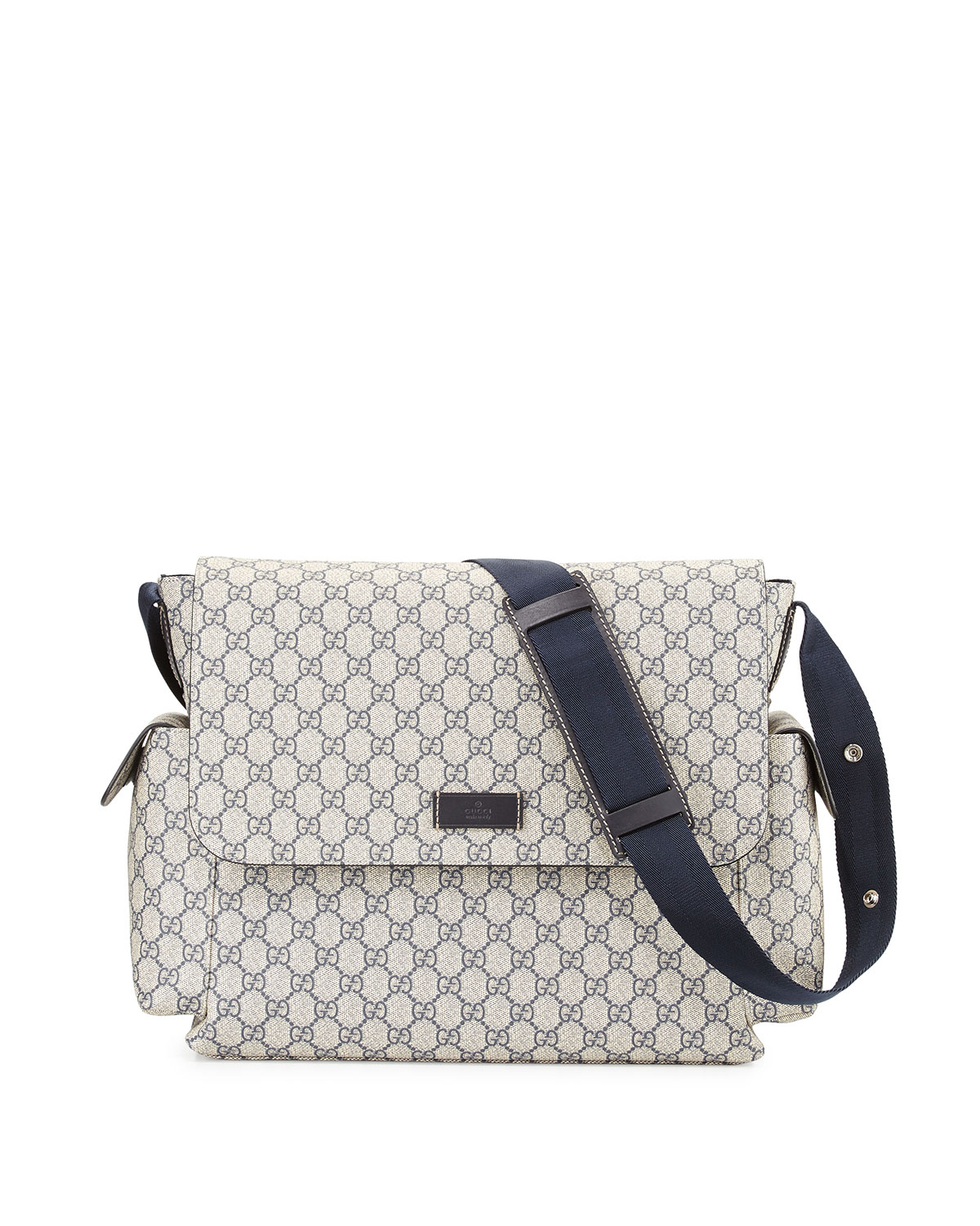 Guccissima Faux Leather Diaper Bag W Changing Pad Beige Blue