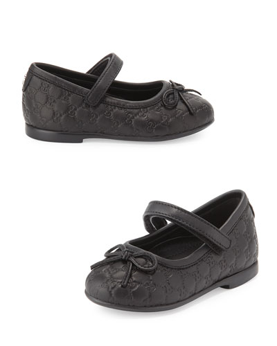 Agatha Leather Mary Jane Flat, Black, Toddler