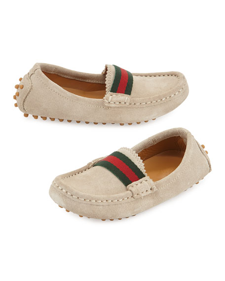 Gucci Driving Dandy Suede Moccasin Driver, Oatmeal, Toddler