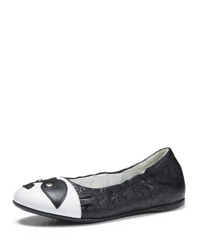 Guccissima-Embossed Leather Ballet Flat, Black/White, Junior