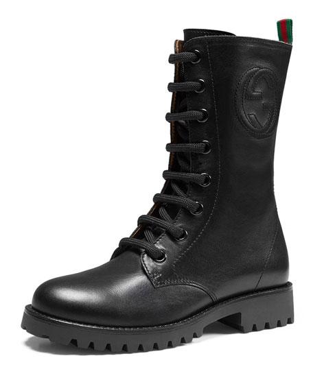 gucci leather combat boot black junior