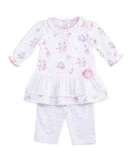 Tutu Precious Tiered Dress & Pants, White/Pink, Size 3-24 Months