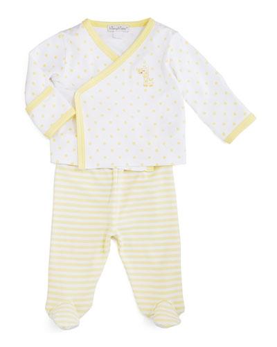 Fun and Games Pima Footie Pajama Set, White/Yellow, Size Newborn-6 Months
