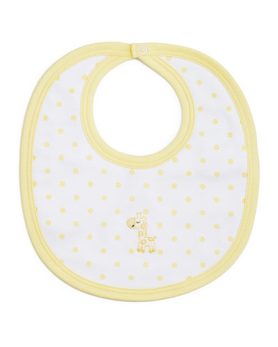 Fun and Games Polka-Dot Pima Bib, White/Yellow