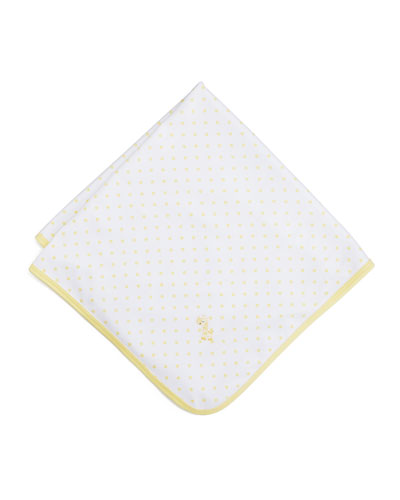 Fun and Games Polka-Dot Pima Blanket, White/Yellow