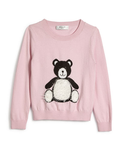 Novelty Knit Bear Pullover Cardigan, Blush, Size 4-7
