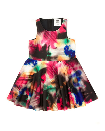 Graffiti-Print A-Line Racerback Dress, Black/Multicolor, Size 4-7