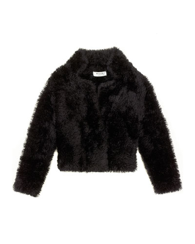 Cozy Faux-Fur Coat, Black, Size 8-14