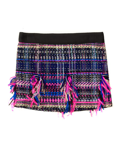 Fringe-Trim Tweed Skirt, Black/Multicolor, Size 4-7