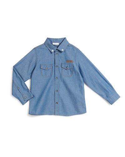 Long-Sleeve Chambray Military Shirt, Blue, Size 12-36 Months