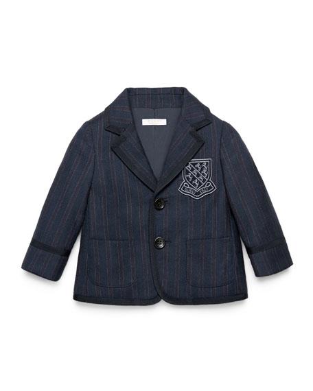 Gucci Striped Wool Prep School Jacket, Navy, Size