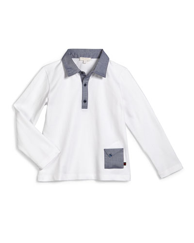Long-Sleeve Chambray-Trim Polo Shirt, White, Size 6-36 Months