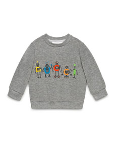 gucci gucci robot pullover sweatshirt gray size 6 36 months. Black Bedroom Furniture Sets. Home Design Ideas