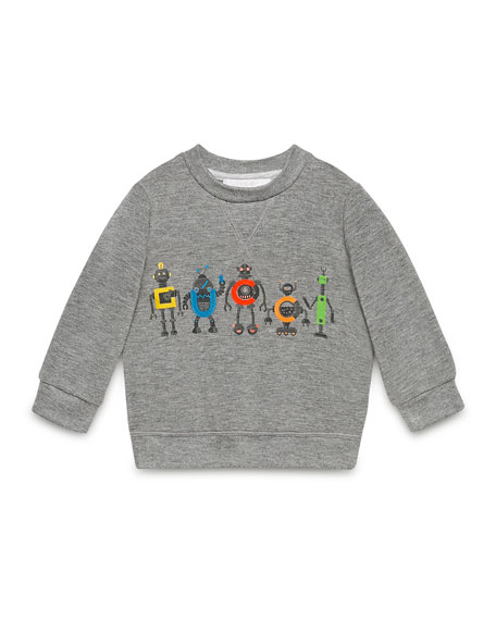 Gucci-Robot Pullover Sweatshirt, Gray, Size 6-36 Months