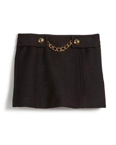 Bonded Wool Chain Mini Skirt, Black, Size 4-7